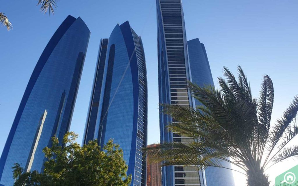 outside view of etihad towers on corniche road
