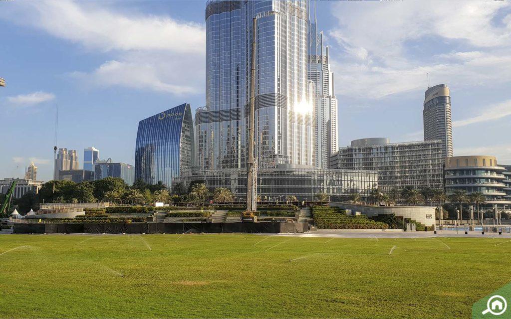 burj park near the address residence fountain views