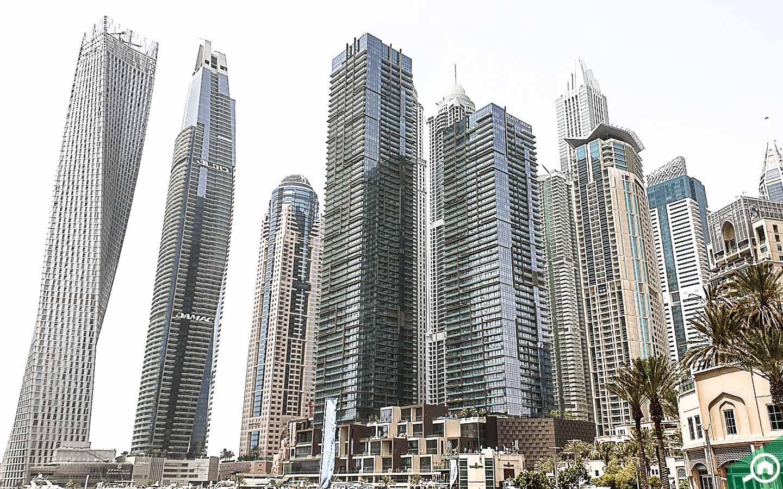 Buildings near Dubai Marina Towers