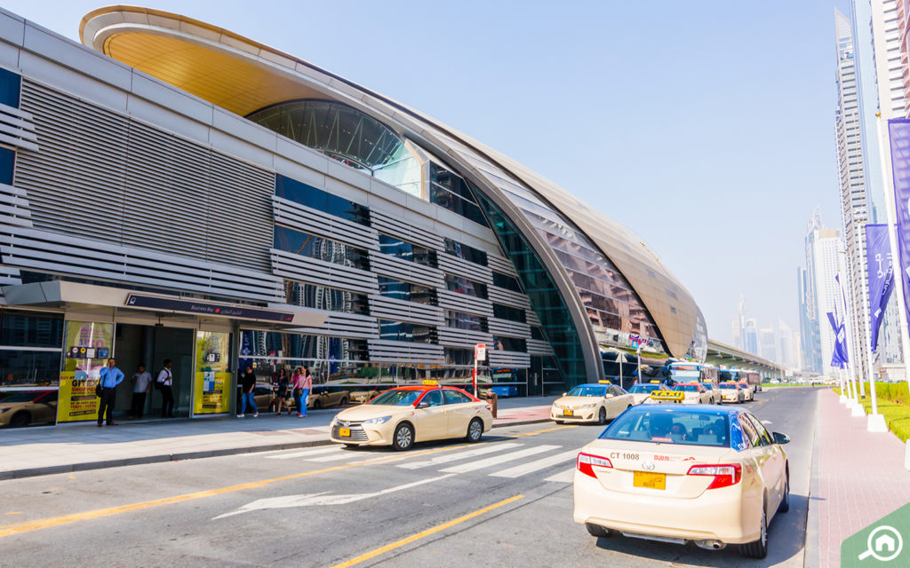 outside view of Business Bay Metro Station