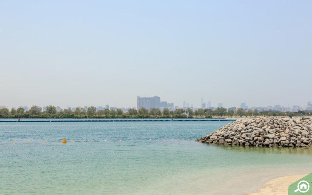 view of reem island from beach towers shams abu dhabi