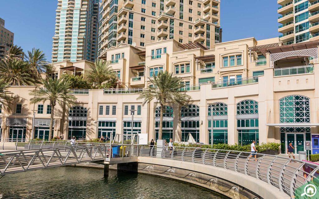 Dubai Marina Walk near Al Seef Tower
