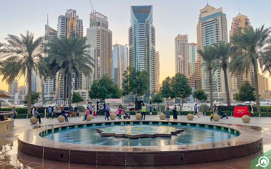 fountain in marina walk Dubai
