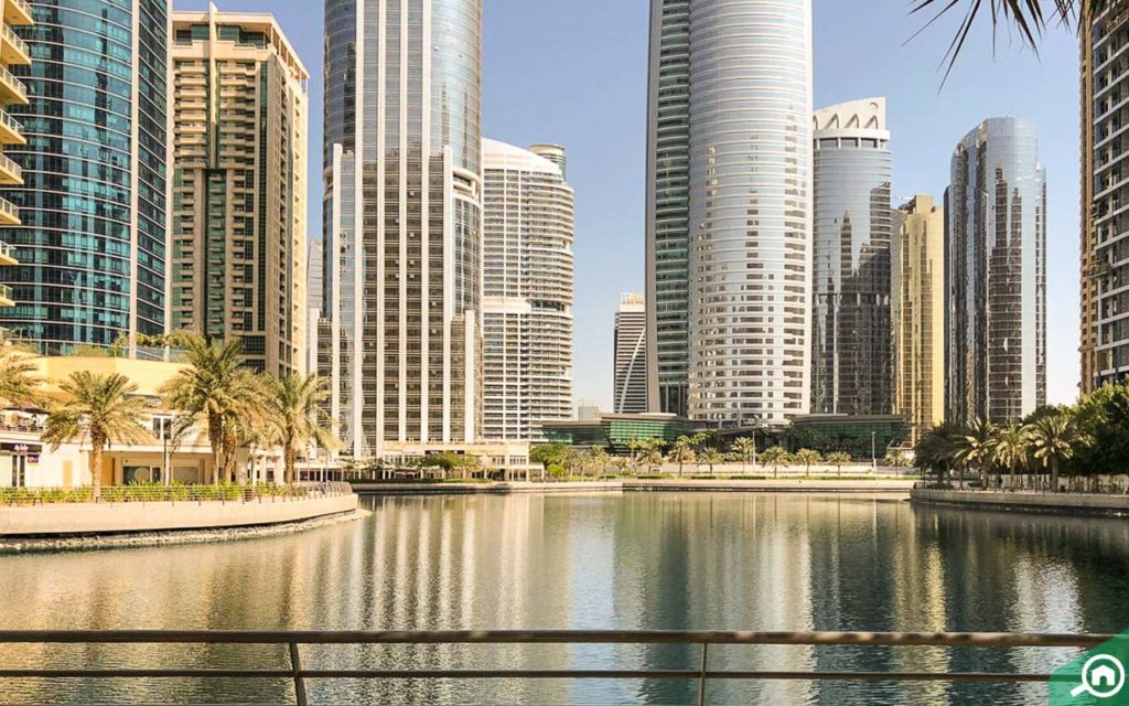 Lake views of JLT, near Concorde Tower
