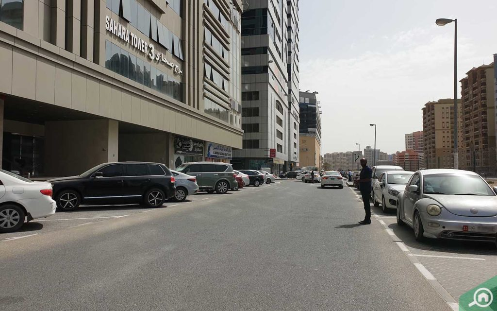 Parking located outside Sahara Towers