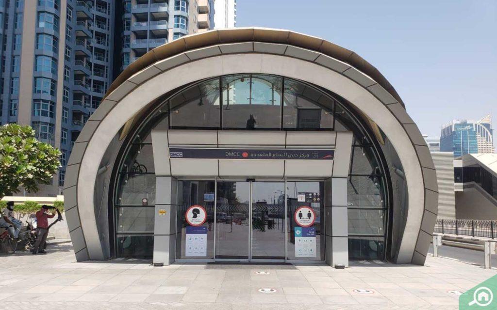 Entrance of DMCC Metro Station in Dubai Marina