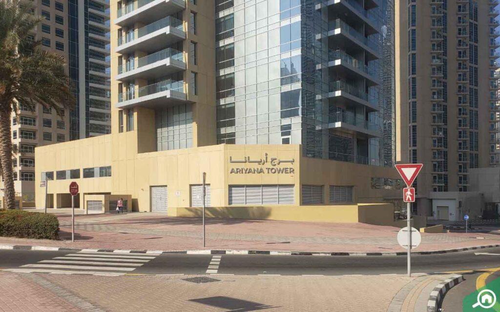 view of ariyana tower in Dubai Marina
