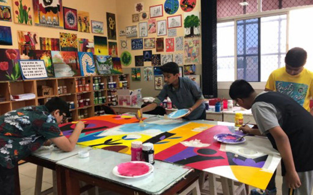 Students of DPS Sharjah participate in extra-curricular activities such as painting, arts and crafts.