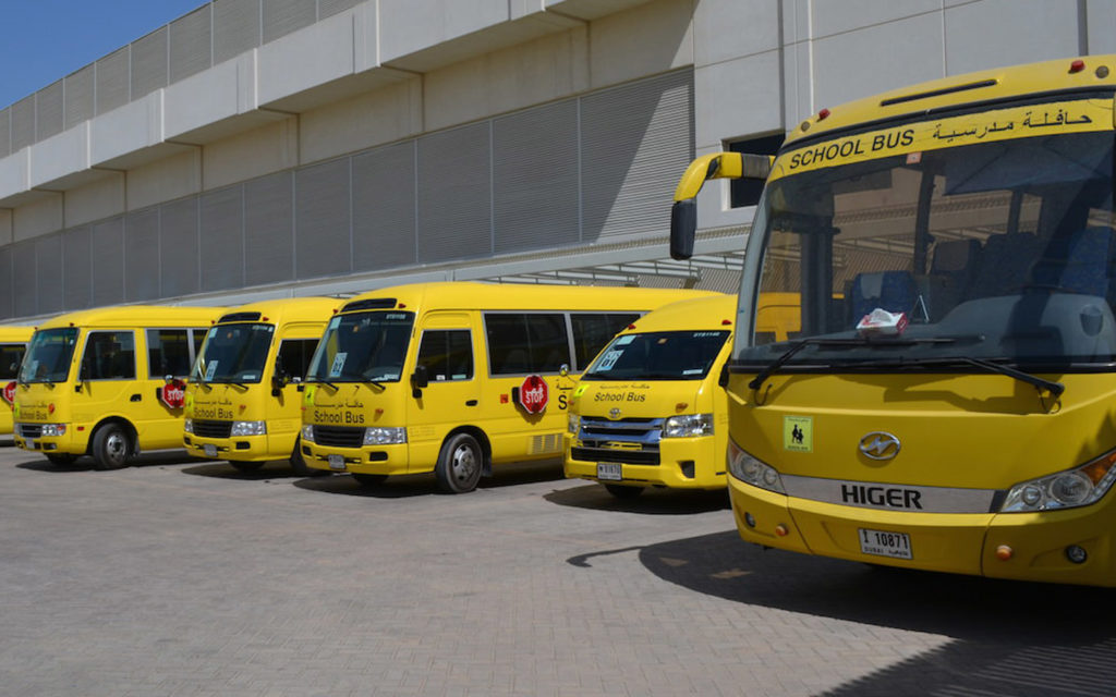 school buses used for students of American School of Dubai