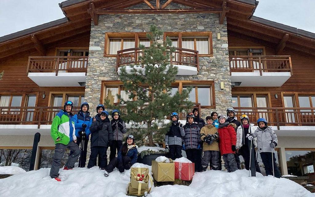 Victoria International School of Sharjah students in Switzerland on a ski-trip