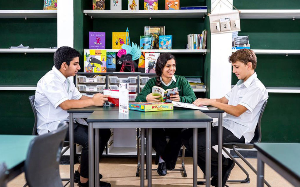 Students in the middle school stage of Jumeira Baccalaureate School studying