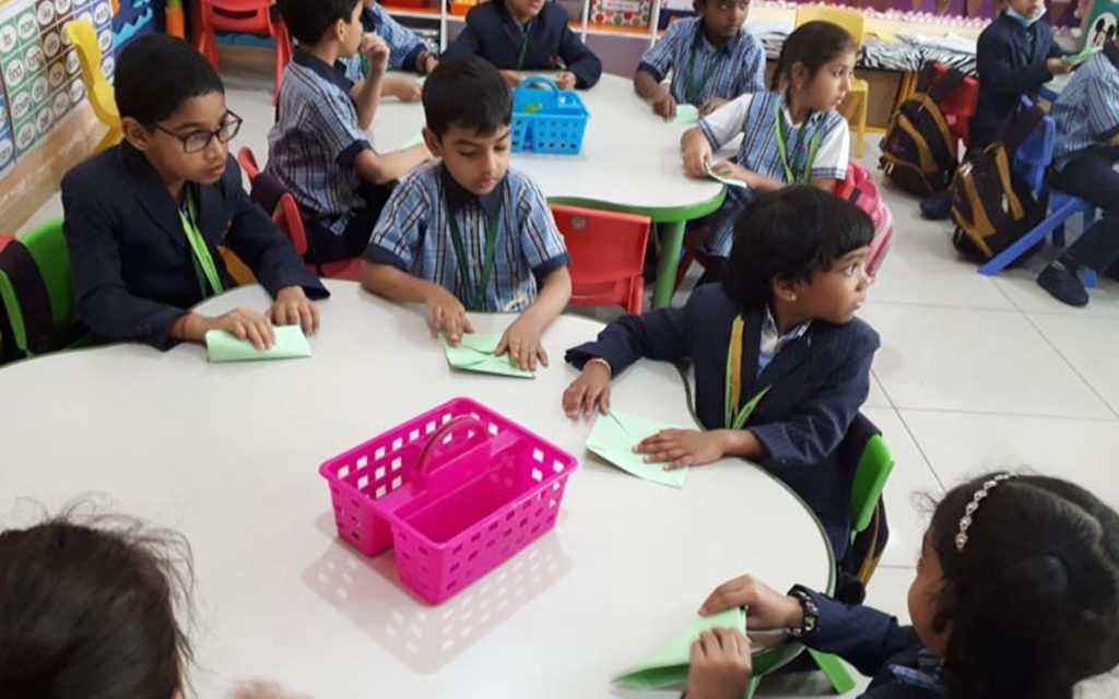 Students at PACE International School Sharjah are taught using probes, such as cards