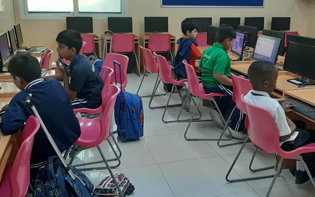 students in computer lab at Brilliant International Private School